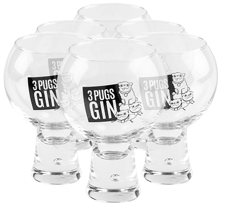 Set of 6 x 3 Pugs Gin Bespoke Glasses